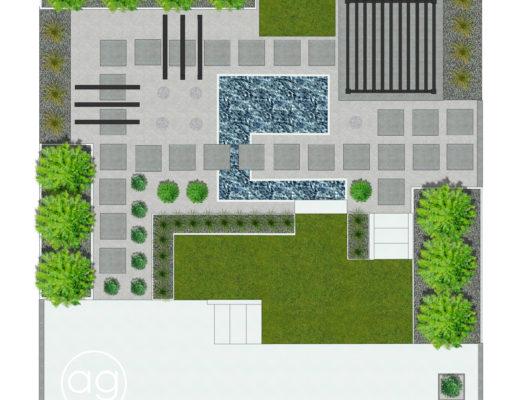 ogród minimalistyczny, ogród na 5.0, projektowanie ogrodów, agnieszkagertnerblog, wizualizacja, 3D, projekt, koncepcja 2D