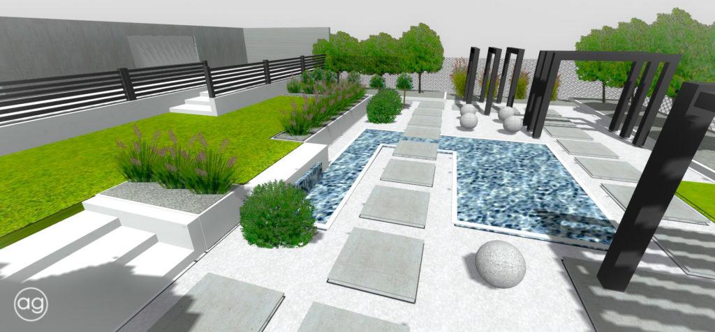 ogród minimalistyczny, ogród na5.0, projektowanie ogrodów, agnieszkagertnerblog, wizualizacja, 3D, projekt, koncepcja 2D